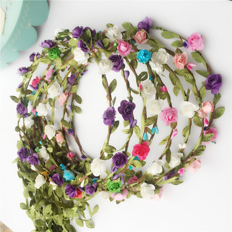 Beach Tourist Hair Jewelry Rose floral  hair garland Simulated Flower Bride Sennu Headdress Hoop accessories