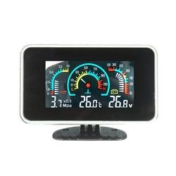 Universal LCD 12v/24v Truck Car Oil Pressure Gauge + Voltmeter Voltage Gauge + Water Temperature Gauge Meter With Sensors