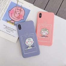 IMIDO New Boy&Girl For iphone 6/7/8/X Cases Cute Simple Anti-fall Lanyard Fashion Phone Back Cover TPU Soft Silicone