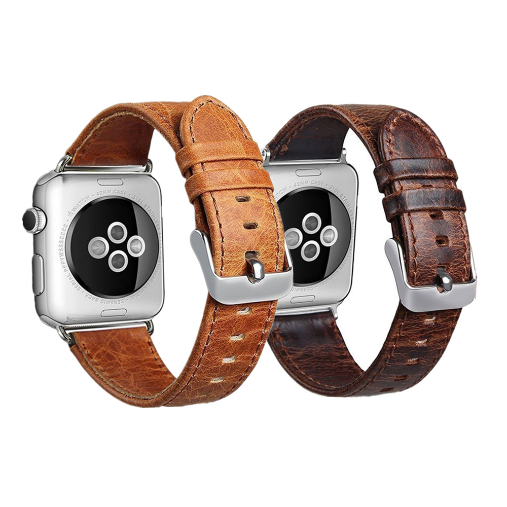 Genuine leather watchband strap For Apple Watch band 42mm/38mm & Crazy horse leather bracelet wrist belt for iwatch 3/2/1 series italian genuine calf leather watchband for iwatch apple watch 38mm 42mm series 1 2 3 band alligator grain strap wrist bracelet