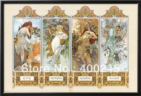 Museum quality Alphonse Mucha painting The Four Seasons Portrait painting oil on canvas large size 100%hand painted free shippin