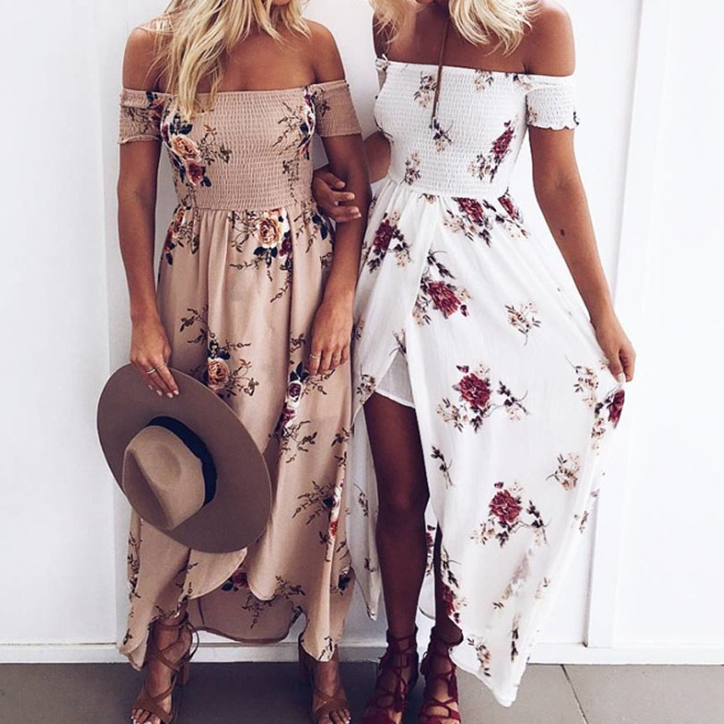 boho wrap slit long dress women print off shoulder beach summer dress sexy chiffon backless swing dress white khaki vestidos