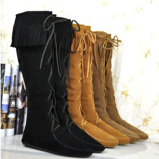 Hight Quality Free Shipping Cow Leather Lace Up Knee High Fringe Flat Boots womens flat shoes