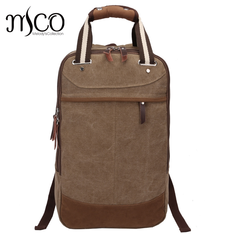 MCO Men's vintage canvas backpack school Luggage Shoulder Bag Computer Functional Hand Bag large capacity travel laptop backpack