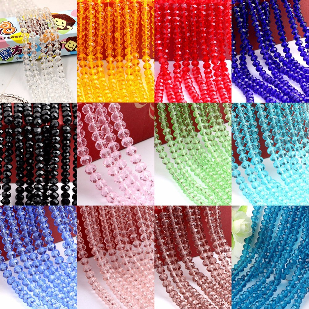 Diy Jewelry 70pc 6*8mm Faceted Rondelle glass crystal Beads Mixed colors