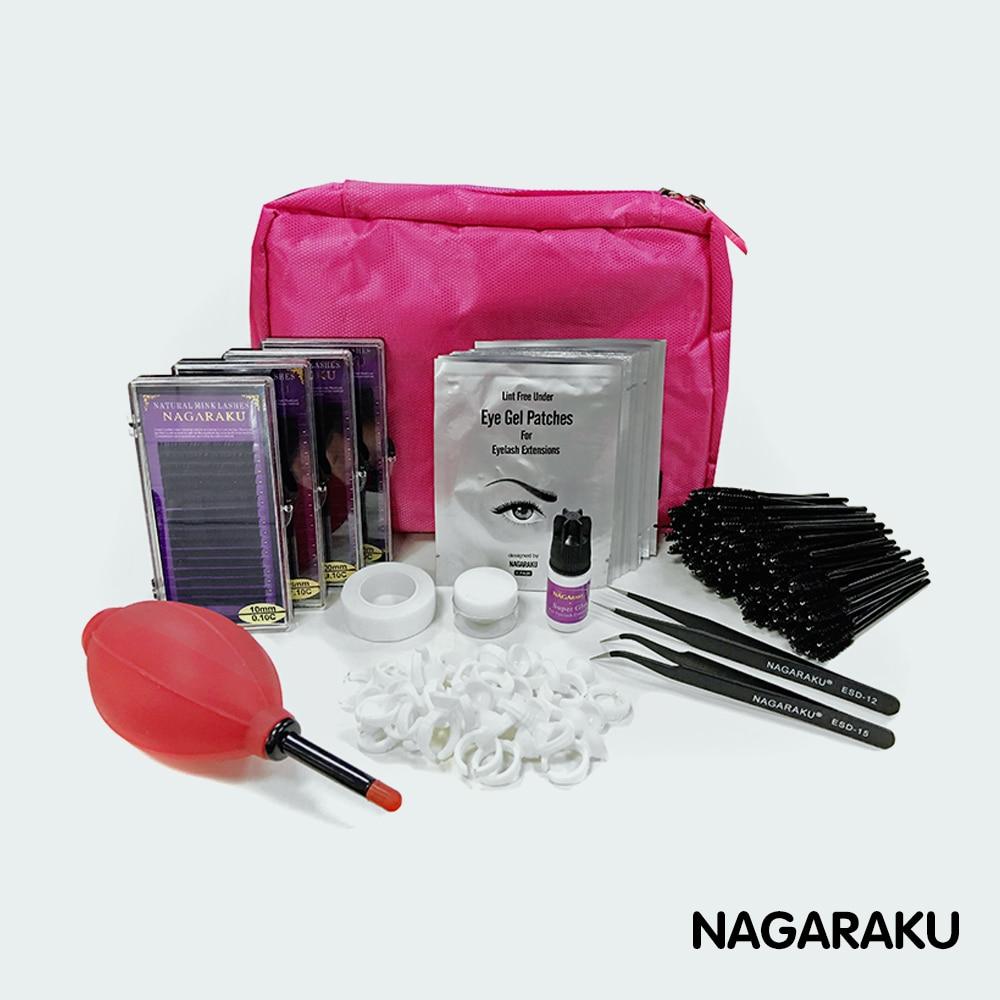 NAGARAKU NOVOS cílios extensão kit para iniciantes, moda cílios conjunto de extensão com cola, almofada do olho, fita eyelahes brusth