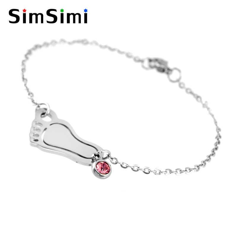 Simsimi baby foot и рождения камни Шарм Для Мамы Женские браслет ювелирные изделия из нержавеющей стали происхождения модные браслеты подарок ювелирные изделия