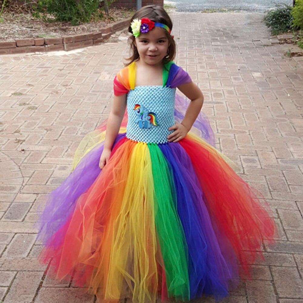 Full length Girl Rainbow Pony Tutu Dress Children Inspired Little Pony Birthday Party Tutu Dresses Halloween Costume For Girls full length tee dress