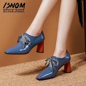 ISNOM Patent Leather Pumps Women High Heels Stripe Pumps Plaid Cross Tied Shoes Female Square Toe Party Shoes Autumn 2019 New