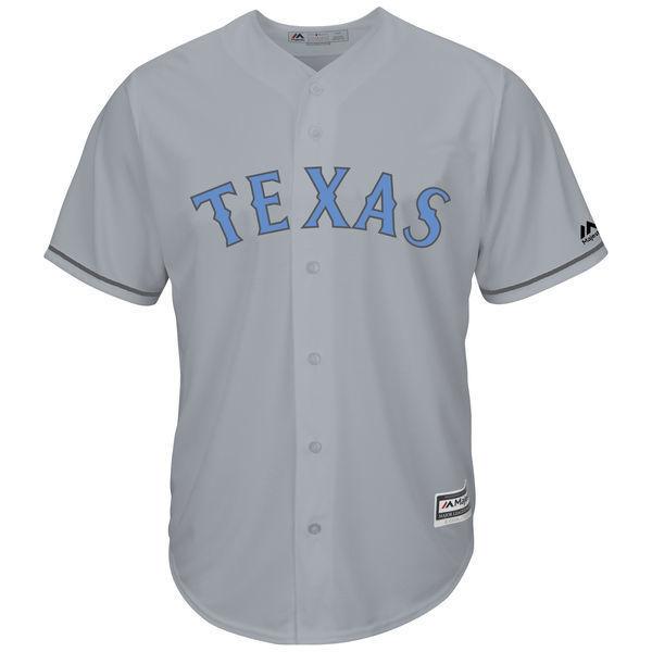 MLB Mens Texas Rangers Prince Fielder Baseball Gray Fathers Day Cool Base Replica Jersey