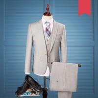 2018 Light Grey Herringbone Tweed British Style Custom Made Mens Suit Tailor Notch Lapel Blazer Wedding Suits For Men 3Piece 973