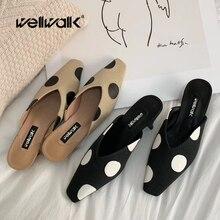 купить Fashion Heel Slippers Women Square Toe Mules Shoes Ladies Dress Slides Polka Dot Style Slippers Summer Shoes Female по цене 1704.41 рублей