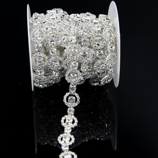 1 Yard Bling Round Rhinestone Crystal Trimming Trim Copper Chain Dress  Sewing 96bd10bc7670