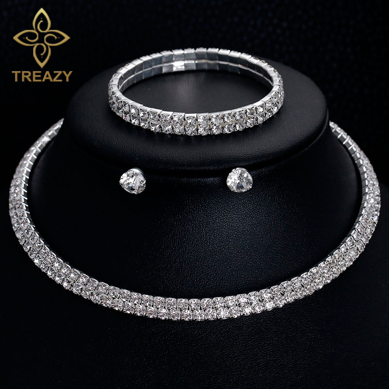 TREAZY Classic Rhinestone Crystal Choker Necklace Earrings and Bracelet African Wedding Jewelry Sets Bridal Wedding Accessories