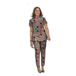 عصري الأفريقي طباعة المرأة بلايز مع السراويل الطويلة مجموعات أنقرة نمط أزياء السيدات dashiki ملابس مخصصة الملابس الأفريقية