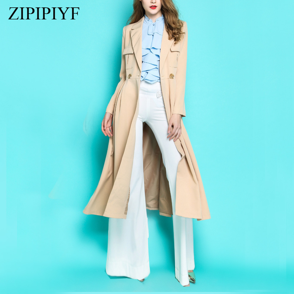 2018 new women autumn winter runway fashion british style double breasted slim trench coat casual long outwear