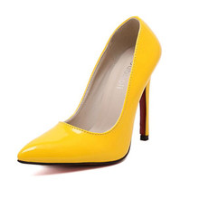 Fashion Sexy OL Dress Pumps Pointed Toe Canddy Color High Heels Pu Leather Shallow Thin Heeled