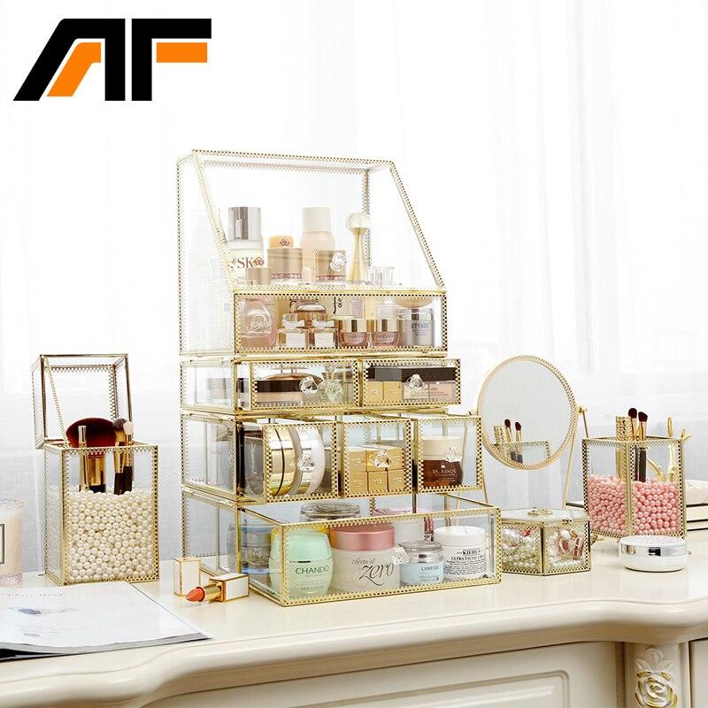 AF Luxury Gran Maquillaje de Almacenamiento de Vidrio Et Metal Edge - Organización y almacenamiento en la casa