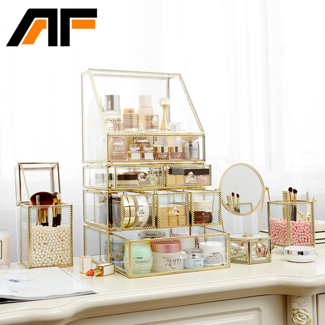 Af Luxury Large Makeup Storage Glass Et Metal Edge