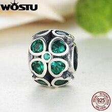 Настоящее стерлингового серебра 925 зеленый Счастливый Клевер Шарм подходят оригинальный WST браслет Цепочки и ожерелья авторские украшения Для женщин Рождественский подарок