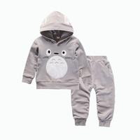 Fashion Children Boys Girls Cartoon Clothing Suits Baby Velvet Hoodies Pants 2Pcs Sets Kids Winter Clothes