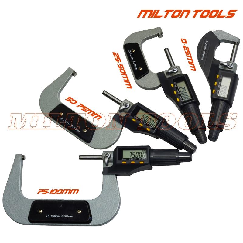0 100mm Digital micrometer Electronic outside micrometer 0 25mm 25 50mm 50 75mm 75 100mm 4pcs