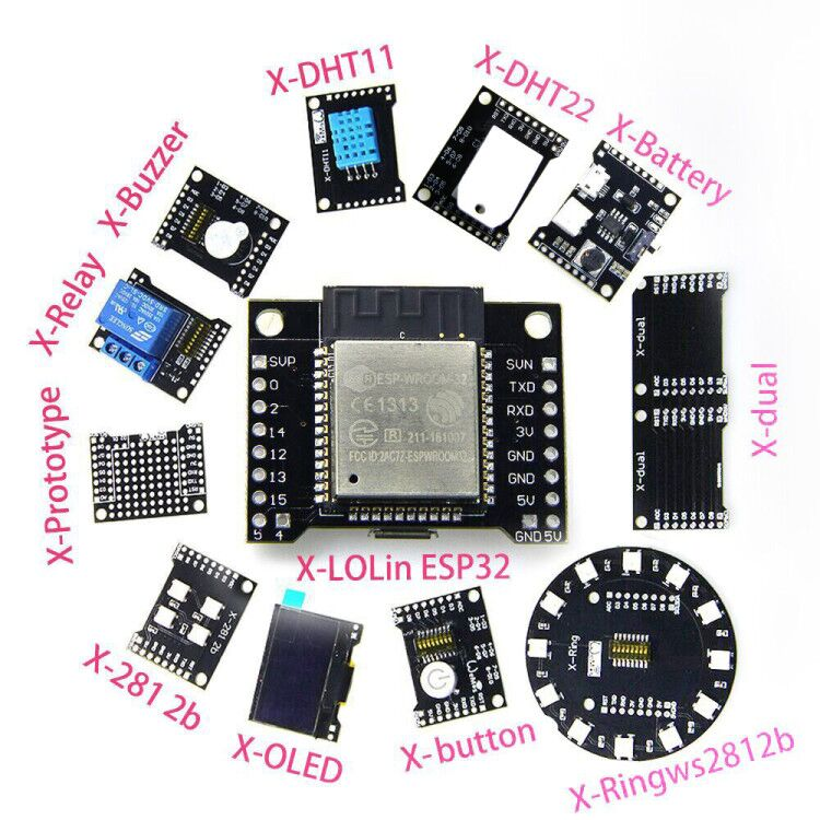 X-Series Suit=X-8266 ESP-WROOM-02/ESP32 WiFi Bluetooth Module and X-(dual DHT11 OLED 2812b Battery button...) project esp32 x 8266 esp wroom 02 wifi
