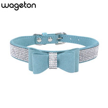 Bowknot Bling Rhinestone Dog Collar Soft Seude Leather Puppy Necklace Pet Accessories Supplies for Small Medium Dogs Cats