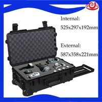 Caixa de ferramentas à prova dwaterproof água equipamento caixa do trole selado caixa de ferramentas fotográfico instrumento câmera caso com espuma pré-corte