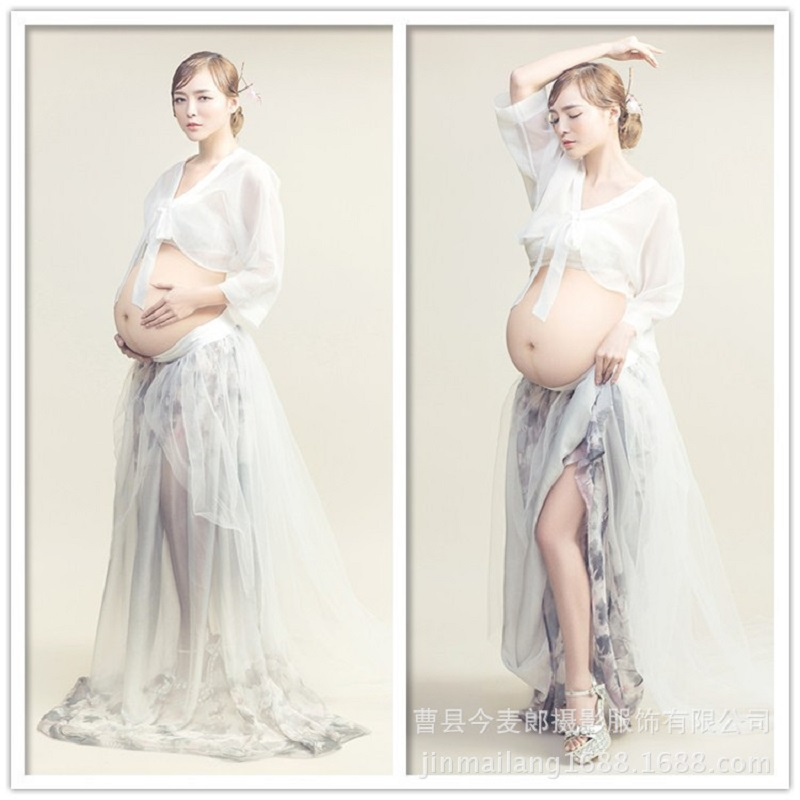 c5717979084f1 New Royal Style Maternity White Voile Summer Dresses Photography Props  Fancy Pregnancy Pregnant Women Photo Shoot Long Dress
