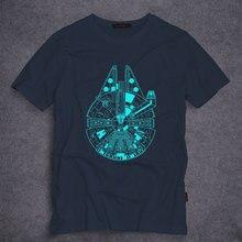 Высокое качество тысячелетний сокол мужчины футболки мода хлопок звездные войны футболки человек твердые коротким рукавом летом тис S-5XL 7 цветов