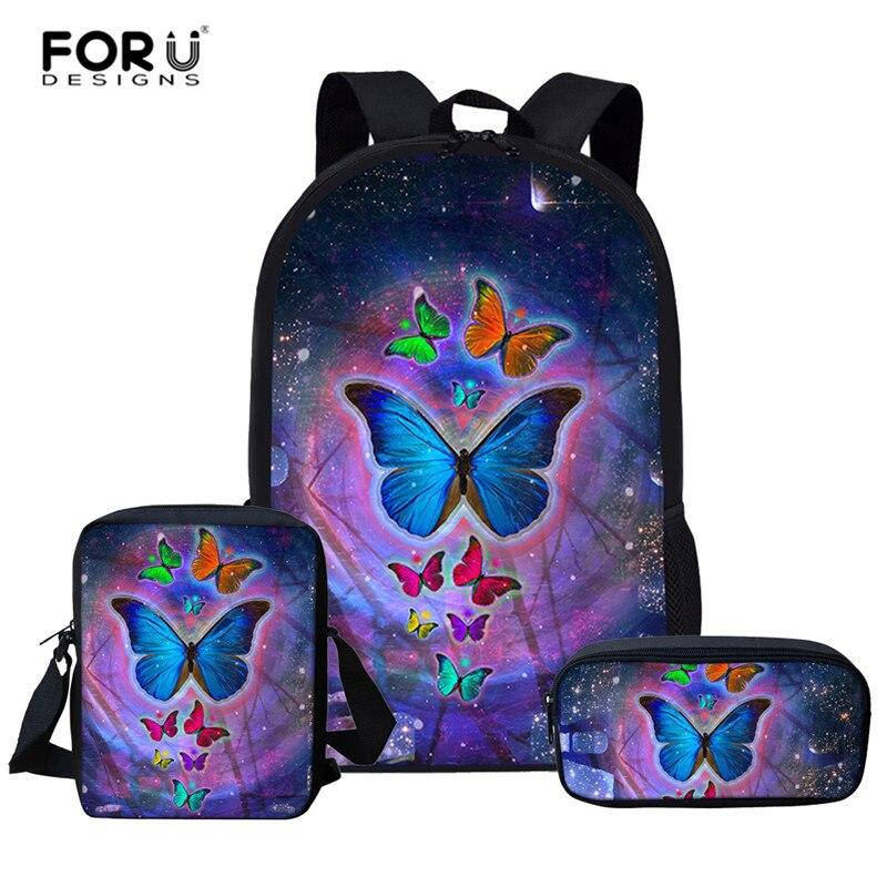 FORUDESIGNS 3pcs/set School Bag Set Girl Backpack Custom Butterfly Schoolbags for Teenage Boys Students Back Mochila