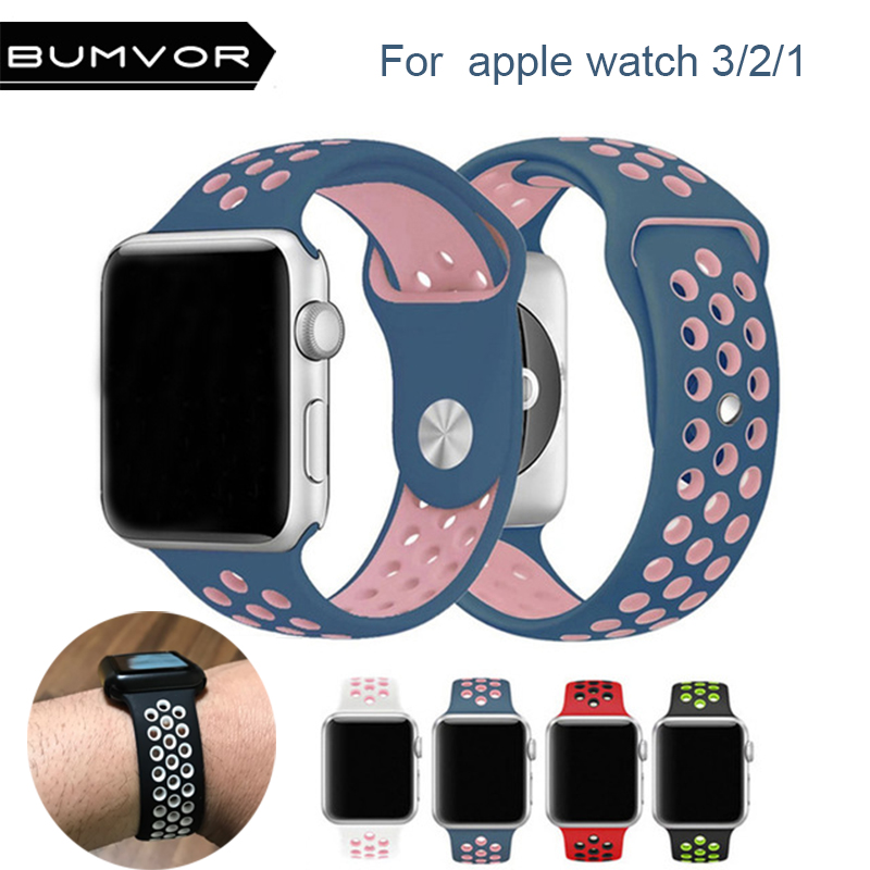 for NIKE+ apple watch series 3 2 1 with Light Flexible Breathable silicone strap for iWatch 38/42MM sport band official color