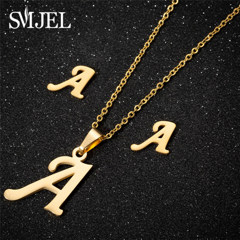 SMJEL Tiny Initial Letter Earrings Stainless Steel Personalize A-Z Alphabet Stud Earings Everyday Jewelry Bridesmaids Brincos