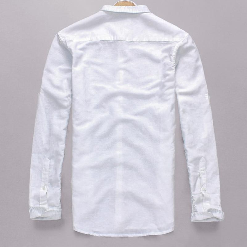 Neue Art Cotton + Linen Shirt Men Slim Fit Langarm Herrenhemd Leinen - Herrenbekleidung - Foto 2