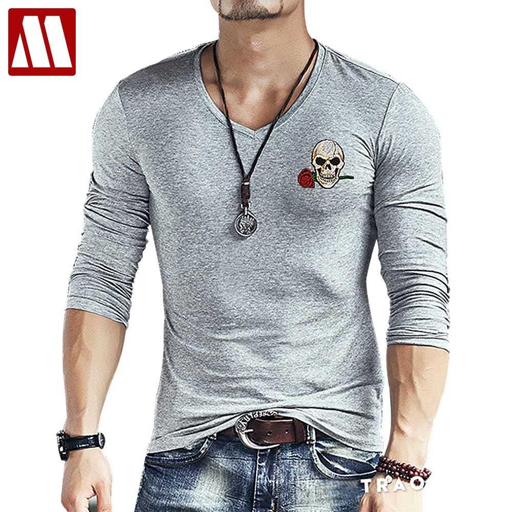eca29dc1e24c 2019 New Fashion Brand Skull embroidery Slim Fit Long Sleeve TShirt Men Tee  V Neck Casual