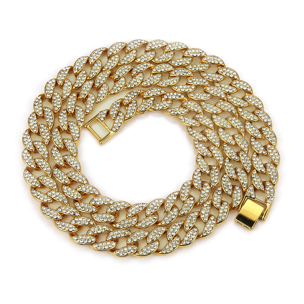 Hip Hop Miami Curb Cuban Chain Necklace 15mm 18/30inches Golden Iced Out Paved Rhinestones Cz Bling Rapper Necklaces Men JewelryHip Hop Miami Curb Cuban Chain Necklace 15mm 18/30inches Golden Iced Out Paved Rhinestones Cz Bling Rapper Necklaces Men Jewelry