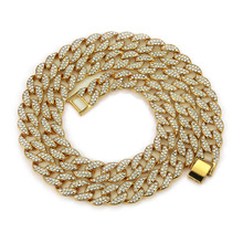 цена на Hip Hop Miami Curb Cuban Chain Necklace 15mm 18/30inches Golden Iced Out Paved Rhinestones Cz Bling Rapper Necklaces Men Jewelry