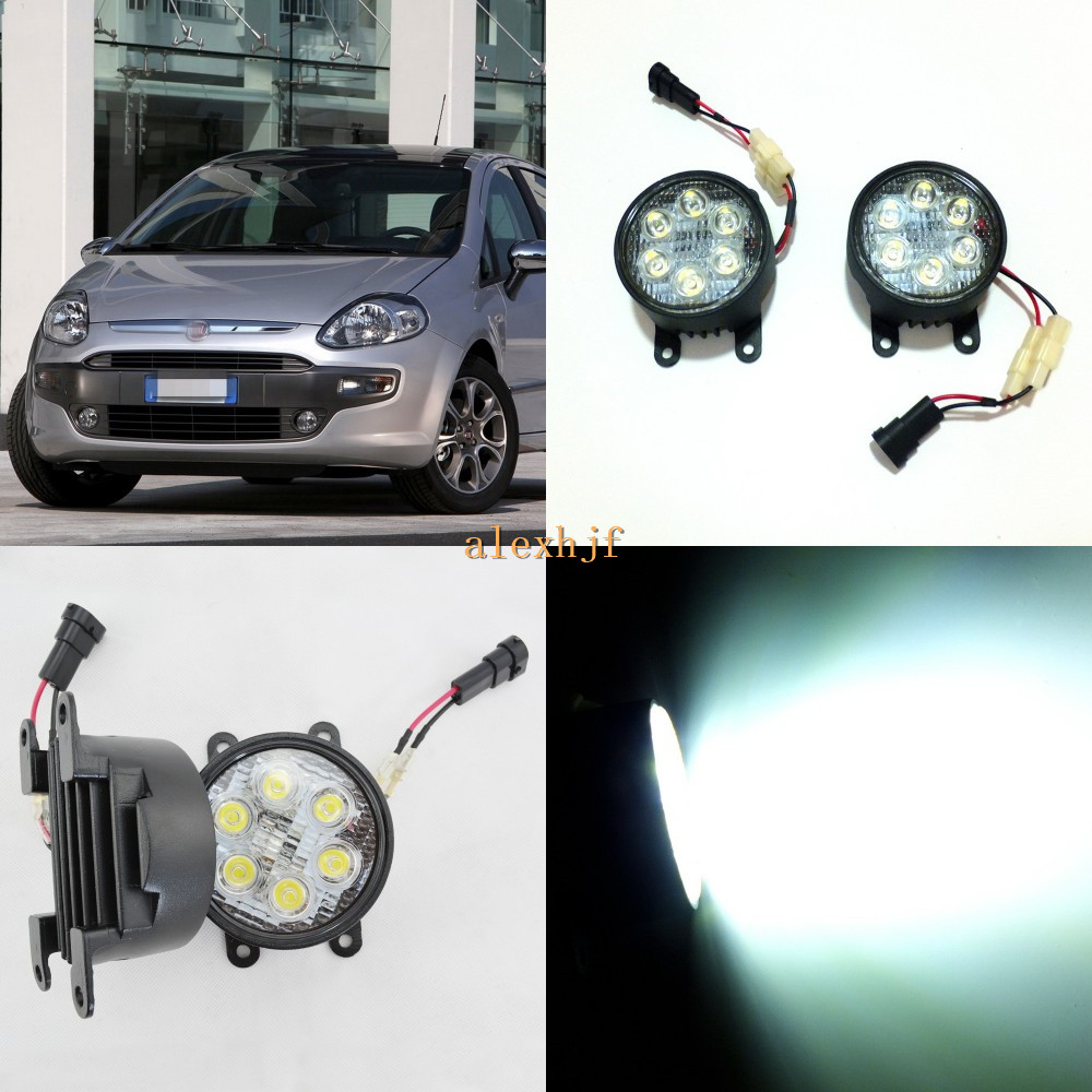 July King 18W 6LEDs H11 LED Fog Lamp Assembly Case for Fiat Punto Evo 2010, 6500K 1260LM LED Daytime Running Lights