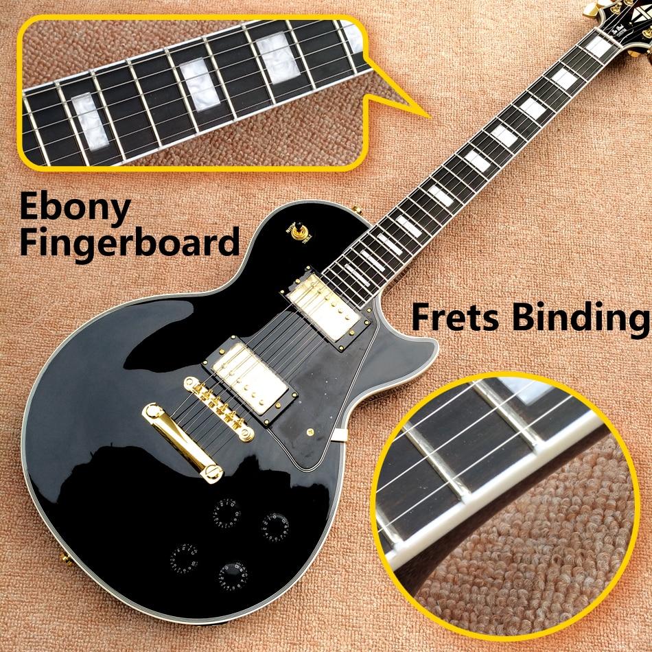 Best Price Top Quality LP Custom Shop Black Color Electric Guitar EBONY Fretboard Binding frets Golden Hardware Freeshipping