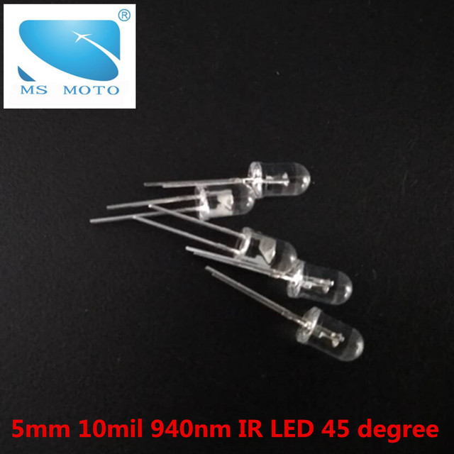 50 Pcs/lot 5mm 10mil Infrared LED Night Vision 940nm invisible IR Diode 45 degree Led Light Diodes  For remote controler