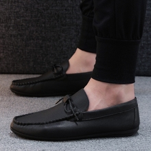 2018 Men Flat Shoes Quality Leather Men Loafers Solid Black/white Breathable Slip-On Outdoor Men Driving Shoes   5
