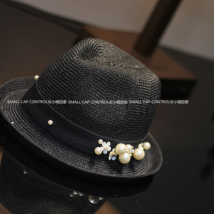 fe6af6f7 2016 Fashion Handmade Pearl Straw Fedora Hats For Women Roll-up Sunbonnet  Chapeu Feminino SWDS-034