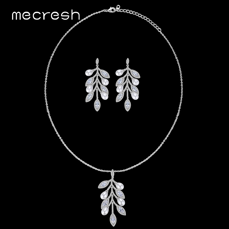 Mecresh Simulated Pearl Wedding Jewelry Sets for Women Leaf Clear CZ Bridal Necklace Earrings Sets 2018 Spring Prom Gift MTL488 classical malachite green round shell simulated pearl abacus crystal 7 rows necklace earrings women ceremony jewelry set b1303