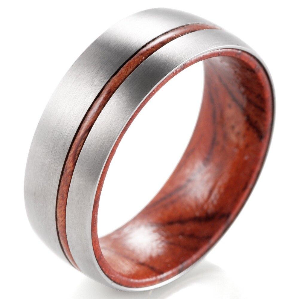 SHARDON Titanium Men's Rings with Matte Finishing Men's Titanium inner wood Ring comfort fit Wedding Band