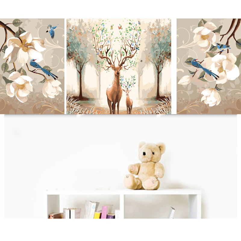 3pc/set DIY Deer Oil Painting By Numbers Digital Oil On Canvas Coloring By Numbers With Acrylic Paints