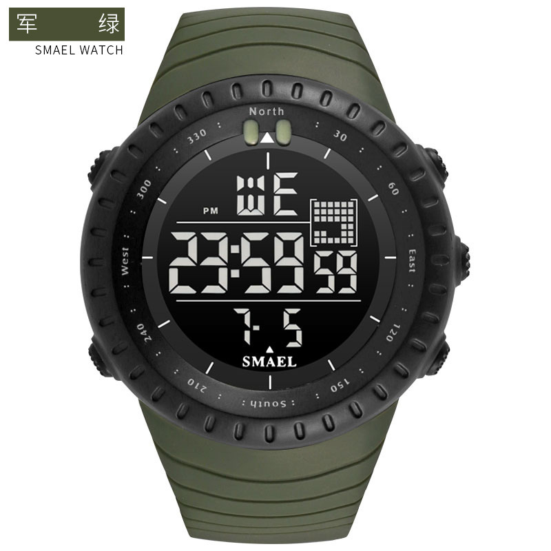 SMAEL Men's Climbing Sports Digital Wristwatches Big Dial Military Watches Alarm Shock Resistant Waterproof Watch Men Clock