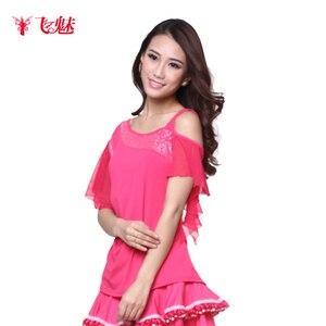 Image 3 - Vêtement de danse carrée pour femmes, hauts à manches courtes aux épaules obliques, sans bretelles pour spectacles de danse latine, haut/tees à manches courtes