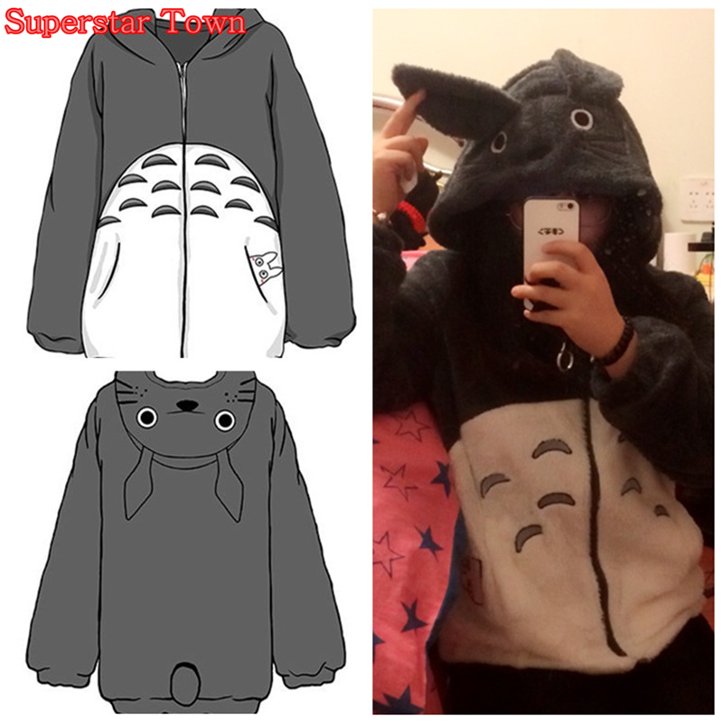 Totoro Hoodie Fleece Women Hooded Sweatshirts Winter Harajuku Japan Kawaii Clothes Cute Mori Girl Lolita Coat