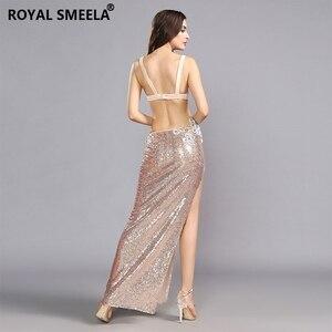 Image 5 - Sujetador de danza del vientre para mujer, faldas, uniforme profesional, 2 uds., sirena ostentosa de lentejuelas, conjunto de disfraz de danza del vientre, 2020